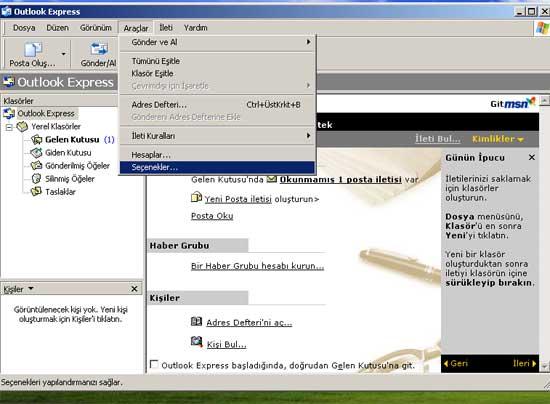 Outlook Express Seçenekler (İleri Düzey Ayarlar)